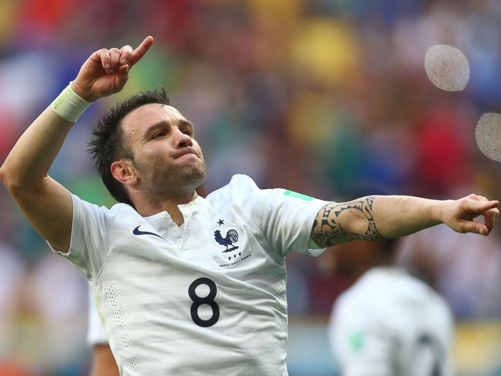 PHOTO: Mathieu Valbuena of France celebrates his teams secong goal during the 2014 FIFA World Cup Brazil Round of 16 match between France and Nigeria at Estadio Nacional on June 30, 2014 in Brasilia, Brazil.