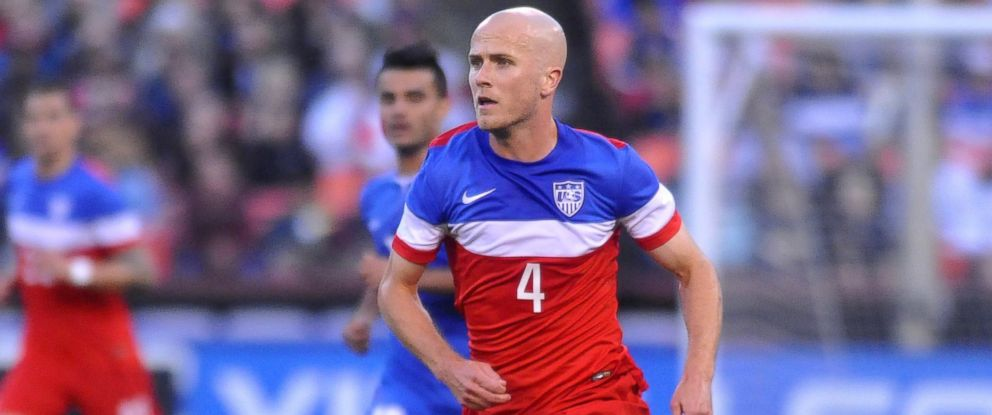 PHOTO: US mens national team player Michael Bradley runs with the ball during a World Cup preparation match against Azerbaijan at Candlestick Park in San Francisco, May 27, 2014.