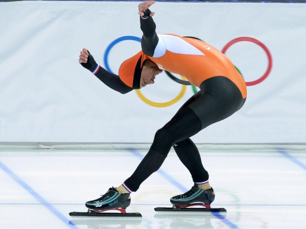 PHOTO: Netherlands Michel Mulder celebrates after the Mens Speed Skating 500m.
