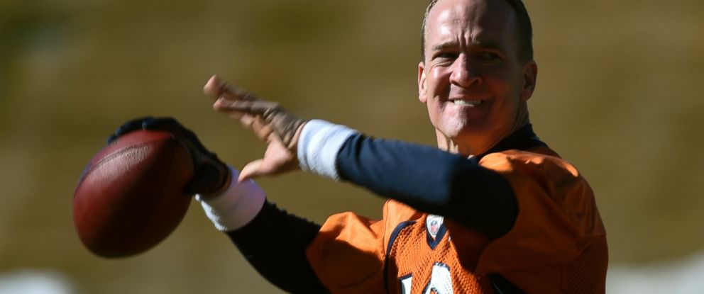 PHOTO: Denver Broncos quarterback Peyton Manning (18) throws a pass during practice Jan. 28, 2016 at UCHealth Training Center in Englewood, Colo., in preparation for Super Bowl 50 in Santa Clara.