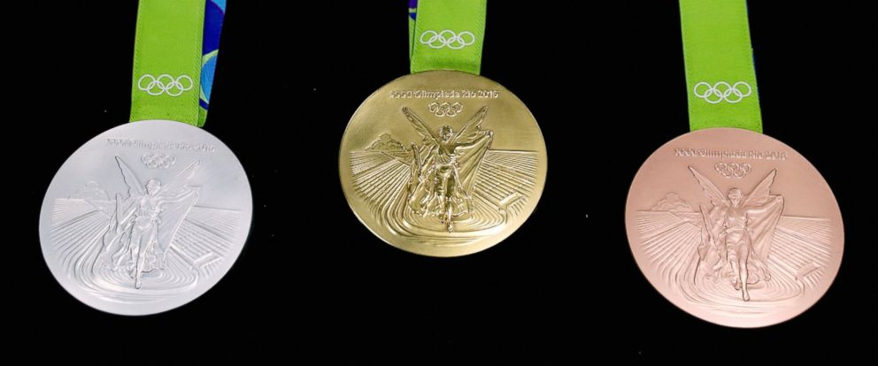 PHOTO: The silver medal, gold medal and bronze medal for the Olympic games are displayed, July 18, 2016, in Rio de Janeiro.