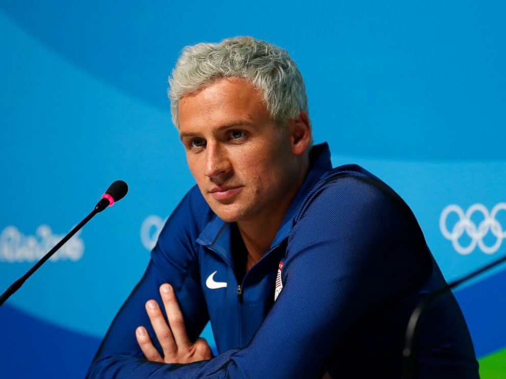 PHOTO: Ryan Lochte attends a press conference at the Rio Olympics on Aug. 12, 2016, in Rio de Janeiro.