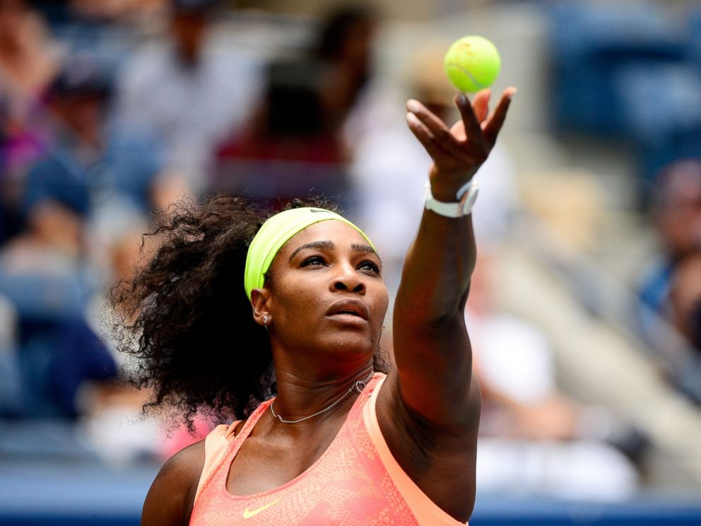 PHOTO: Serena Williams serves to Roberta Vinci of Italy during their Womens Singles Semifinals match at the U.S. Open tennis tournament, Sept. 11, 2015 in New York.