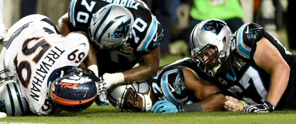 PHOTO: Denver Broncos and Carolina Panthers fight for the ball during Super Bowl 50 at Levis Stadium in Santa Clara, California, Feb. 7, 2016.
