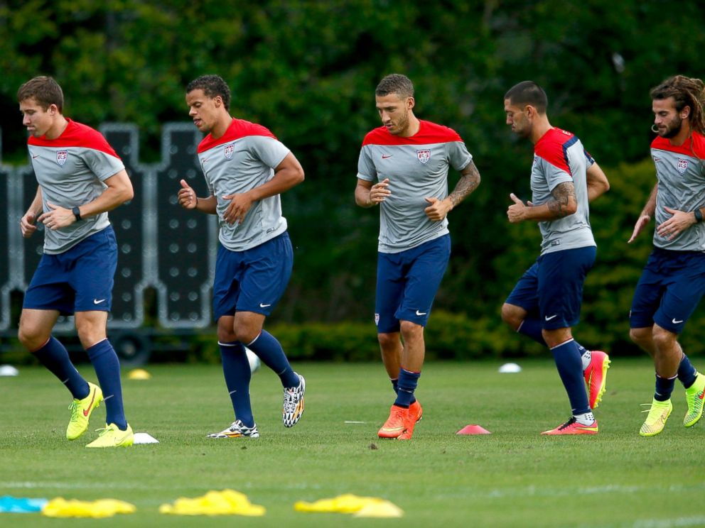 PHOTO: The US Mens National Team stretches during training at Sao Paulo FC, June 28, 2014, in Sao Paulo.