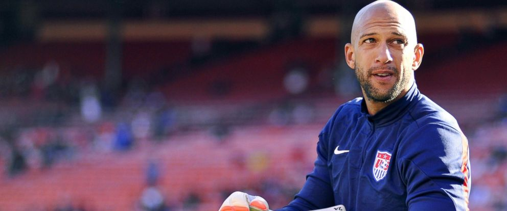 PHOTO: US goalkeeper Tim Howard adjusts his gloves before the start of a World Cup preparation match against Azerbaijan at Candlestick Park in San Francisco, May 27, 2014.