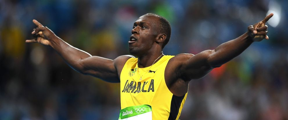 PHOTO Usain Bolt Of Jamaica Celebrates After Winning The Mens 200m Final At Olympic