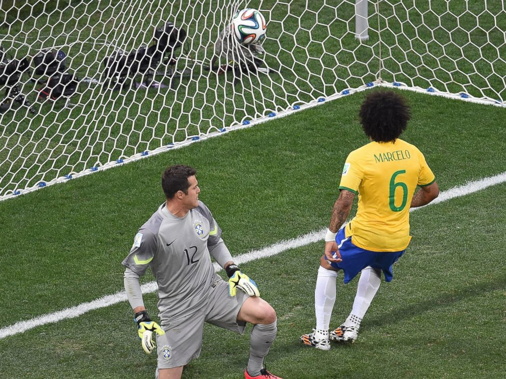 PHOTO: Brazils defender Marcelo scores an own goal