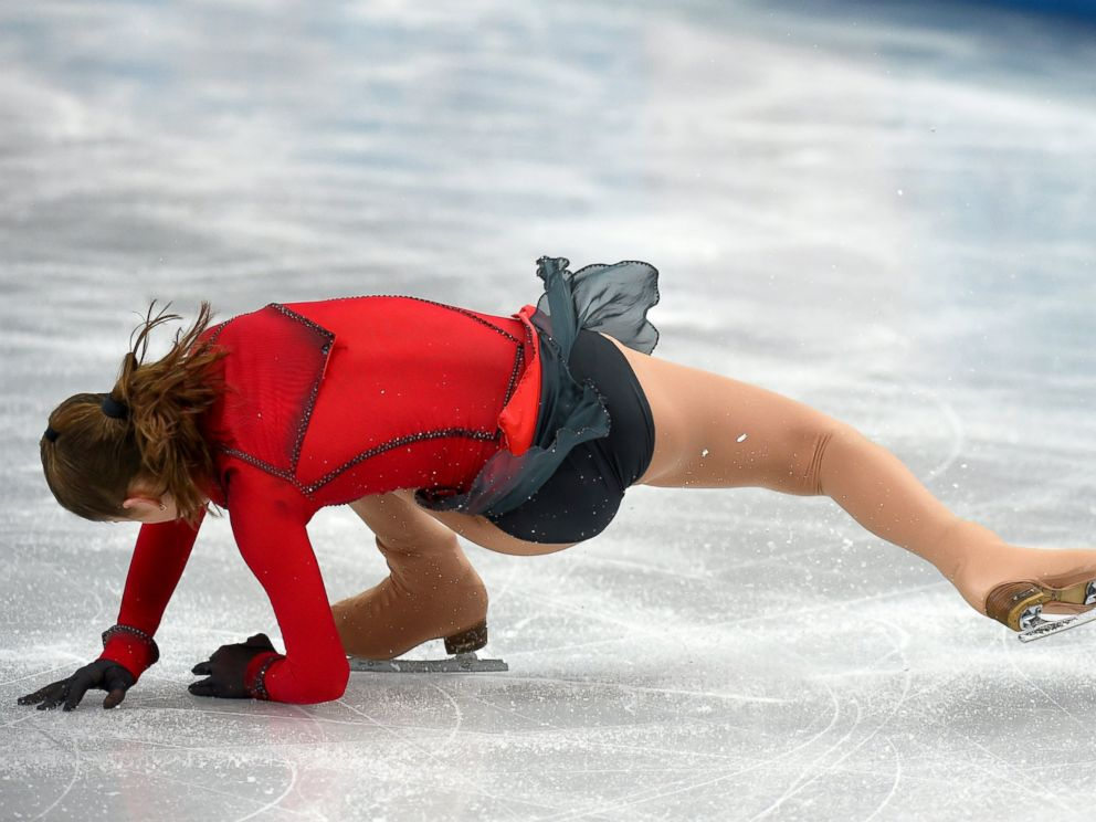 PHOTO: Russias Julia Lipnitskaia falls in the womens figure skating free program at the Iceberg Skating Palace during the 2014 Sochi Winter Olympics, Feb. 20, 2014, in Sochi, Russia.
