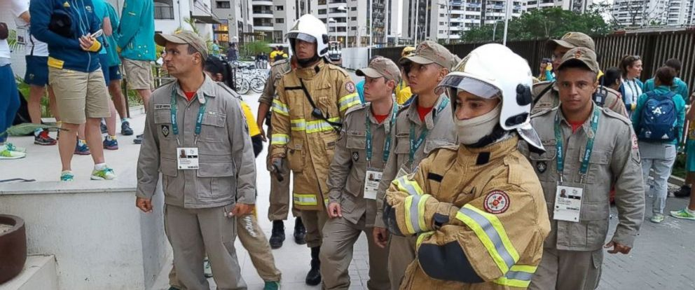 PHOTO: Firefighters respond to a small fire that broke out in the Australian Olympic teams quarters in the Olympic Village in Rio de Janeiro, Brazil, on July 29, 2016.