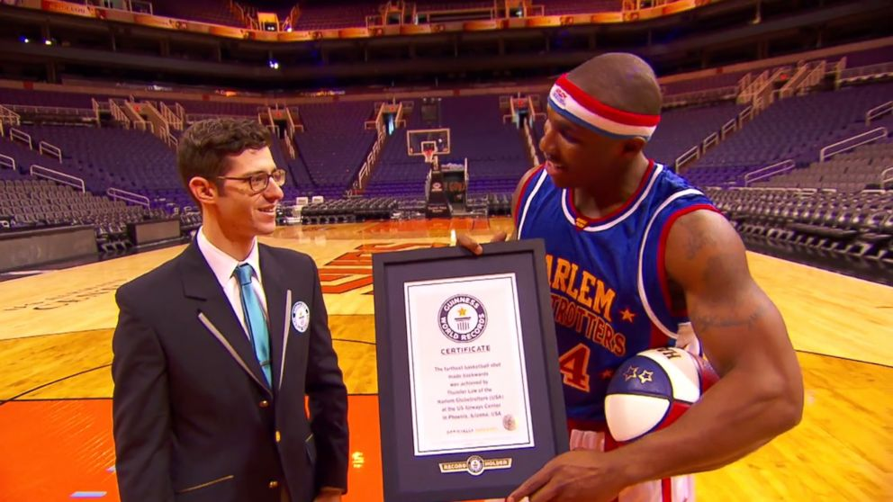 "Corey ""Thunder"" Law is honored for his Guinness world record at US Airways Center in Phoenix, Nov. 12, 2014."