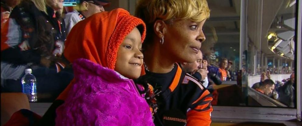 Leah Still, 4, attends her fathers NFL game in Cincinnati, Ohio, on November 6, 2014. The daughter of Cincinnati Bengals player Devon Still was diagnosed with Stage 4 cancer in June. She was feeling well enough to leave the hospital to attend the game.