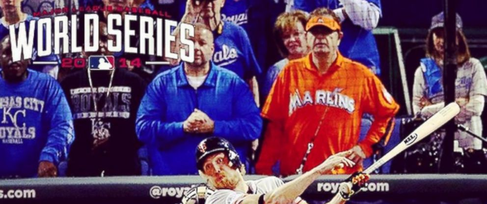 "Laurence Leavy, known as ""Marlins Man,"" watches Game 1 of the 2014 World Series, Oct. 21, 2014 in Kansas City, Mo."
