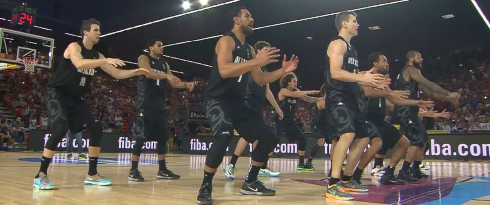 PHOTO: New Zealand basketball players perform a traditional haka dance before the teams game against the United States in the Basketball World Cup, Sept. 2, 2014.