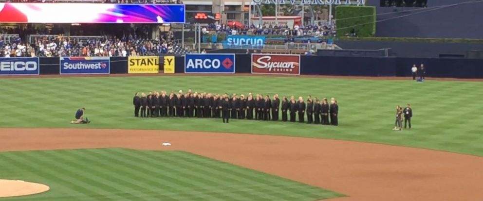 PHOTO: San Diego Gay Mens Chorus took the field at Petco Park to sing the national anthem, but never got the chance. Instead of their voices over the PA system, fans heard a recorded voice of a woman singing the anthem on May 21, 2016.