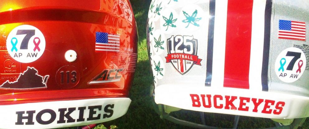 PHOTO: Ohio State and Virginia Tech honored two local television journalists who were killed by a former colleague last month by donning special helmet stickers in their memory.