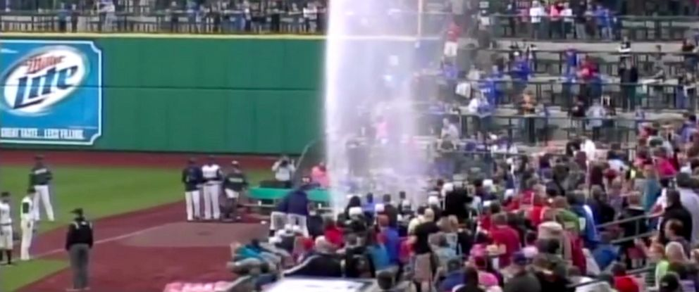 PHOTO: A geyser-like condition halted a TinCaps game when a player ran into a sprinkler.