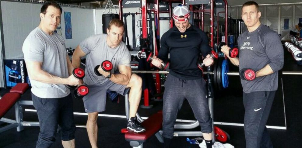 PHOTO: Team USA Bobsledder Cory Butner, left, and teammates get pumped for the Winter Olympic Games.