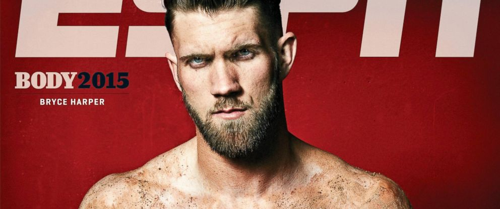 PHOTO: Washington Nationals right fielder Bryce Harper appears on the cover of ESPN Magazines Body Issue 2015