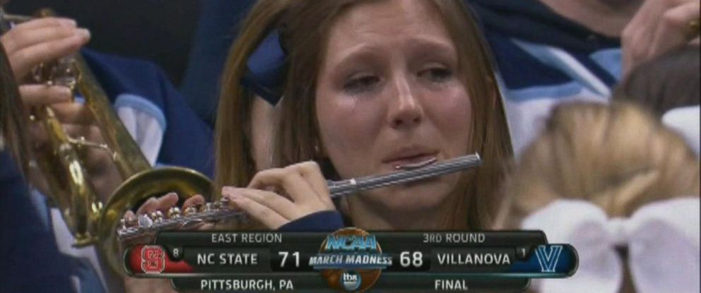 PHOTO: Villanova piccolo player caught on camera crying Saturday night after third-round NCAA tournament loss to N.C. State.