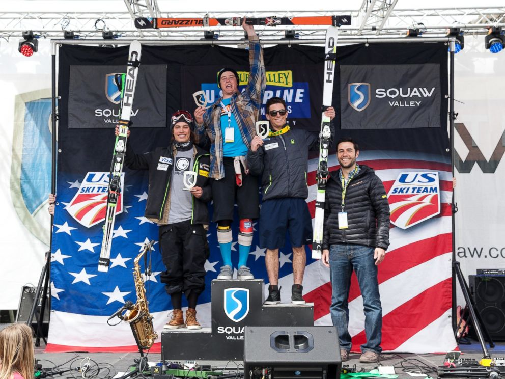 PHOTO: At Center, Bryce Astle, at the 2014 Nature Valley U.S. Alpine Championships at Squaw Valley Resort in Olympic Valley, Calif.
