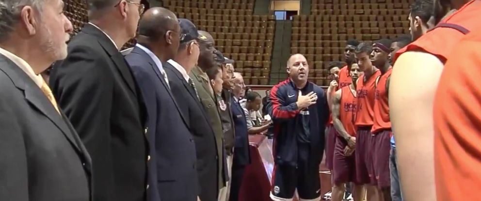 PHOTO: Virginia Tech Mens Basketball coach, Buzz Williams, had a talk with his players and invited veterans to help him with his lesson.