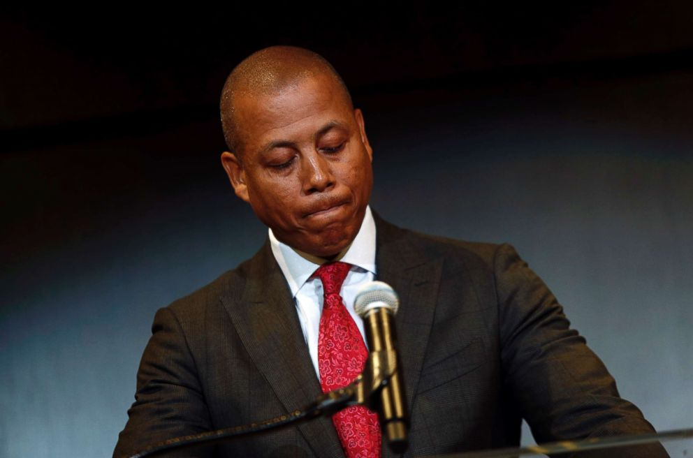 PHOTO: Maryland athletic director Damon Evans pauses as he speaks at a press conference held on Aug. 14, 2018, to address the schools football program and the death of offensive lineman Jordan McNair in College Park, Md.