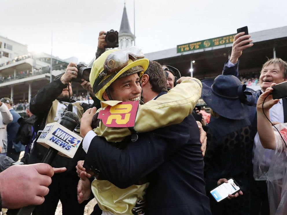 PHOTO: Jockey Flavien Prat celebrates after the Kentucky Derby aboard Country House at Churchill Downs, May 4, 2019 in Louisville, Ky.