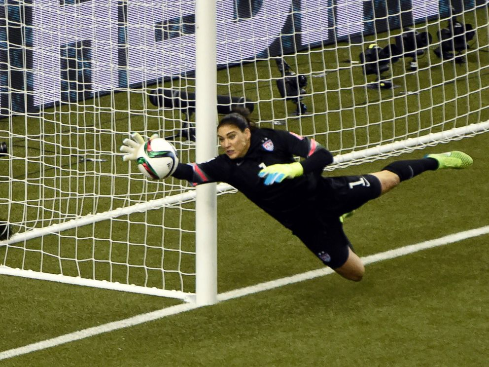 PHOTO: United States goalkeeper Hope Solo, No.1, makes a save against Germany during the semifinals of the FIFA 2015 Womens World Cup, June 30, 2015, at Olympic Stadium in Montreal.