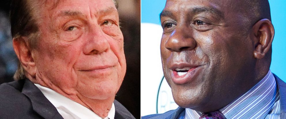 PHOTO: Banished Los Angeles Clippers owner Donald Sterling (left) remains critical of basketball legend Magic Johnson.