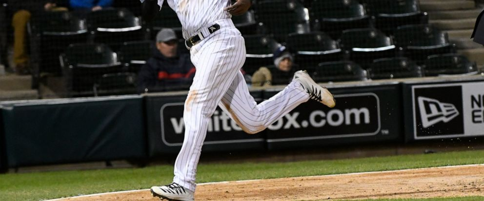 Chicago White Soxs Tim Anderson scores during the fifth inning of a baseball game against the Kansas City Royals, Monday, April 15, 2019, in Chicago. (AP Photo/Matt Marton)