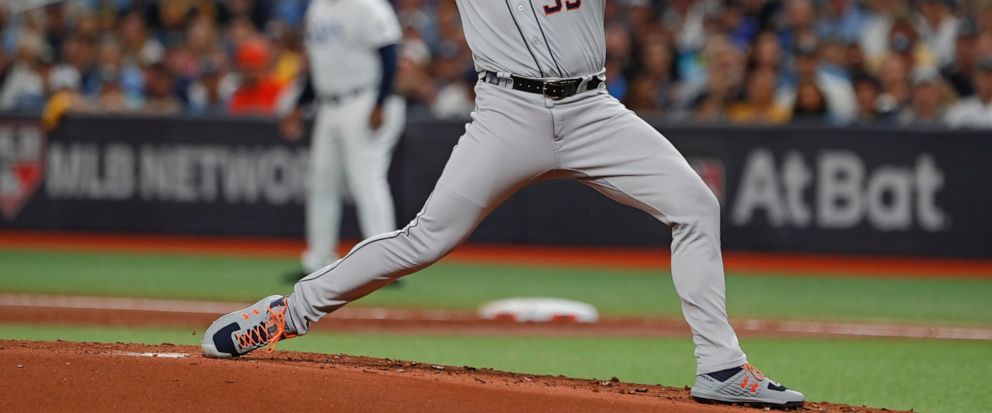 Houston Astros Justin Verlander pitches against the Tampa Bay Rays in the first inning of Game 4 of a baseball American League Division Series, Tuesday, Oct. 8, 2019, in St. Petersburg, Fla. (AP Photo/Scott Audette)