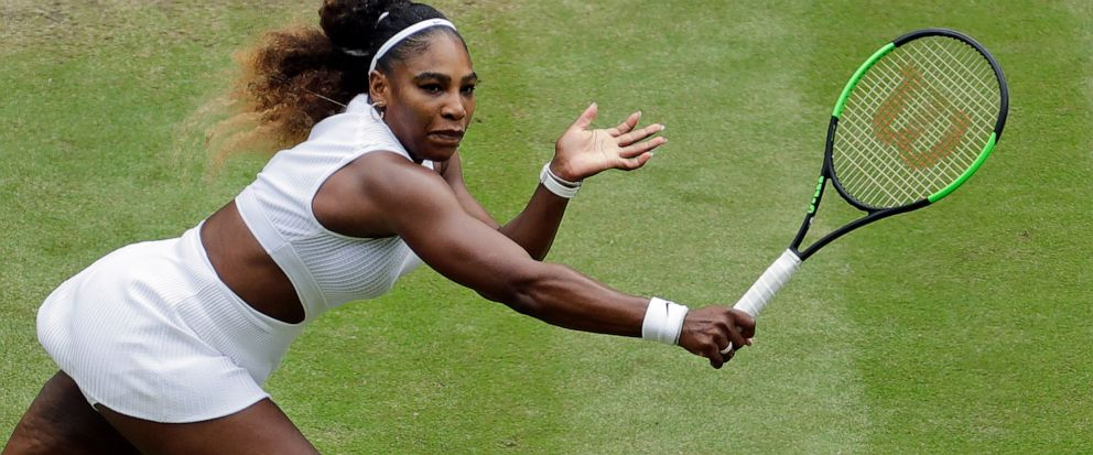 United States Serena Williams returns to United States Alison Riske in a Womens quarterfinal singles match on day eight of the Wimbledon Tennis Championships in London, Tuesday, July 9, 2019. (AP Photo/Ben Curtis)