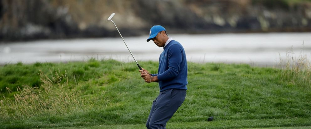 Tiger Woods reacts after missing a putt on the 17th hole during the second round of the U.S. Open golf tournament Friday, June 14, 2019, in Pebble Beach, Calif. (AP Photo/Marcio Jose Sanchez)