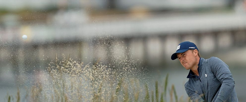 Jordan Spieth hits out of the bunker on the sixth hole during the second round of the U.S. Open Championship golf tournament Friday, June 14, 2019, in Pebble Beach, Calif. (AP Photo/David J. Phillip)