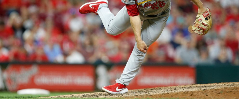 FILE - In this Aug. 15, 2019, file photo, St. Louis Cardinals relief pitcher Ryan Helsley throws against the Cincinnati Reds during the eighth inning of a baseball game in Cincinnati. Helsley was disappointed by his first exposure to the Atlanta Brav