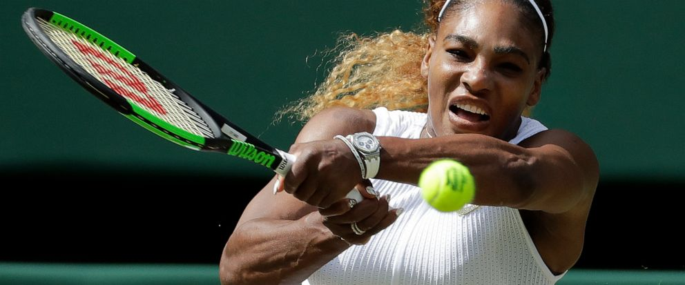 United States Serena Williams returns to Czech Republics Barbora Strycova in a Womens semifinal singles match on day ten of the Wimbledon Tennis Championships in London, Thursday, July 11, 2019. (AP Photo/Ben Curtis)
