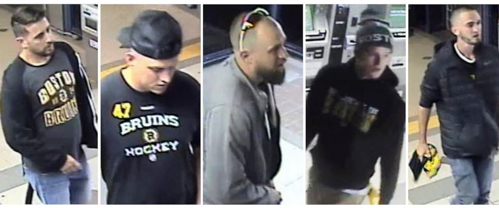 This panel of still images released through the Massachusetts Bay Transit Authority police website from Friday, May 10, 2019, surveillance video shows five suspects, some wearing Boston Bruins clothing, sought in connection to an assault where the vi