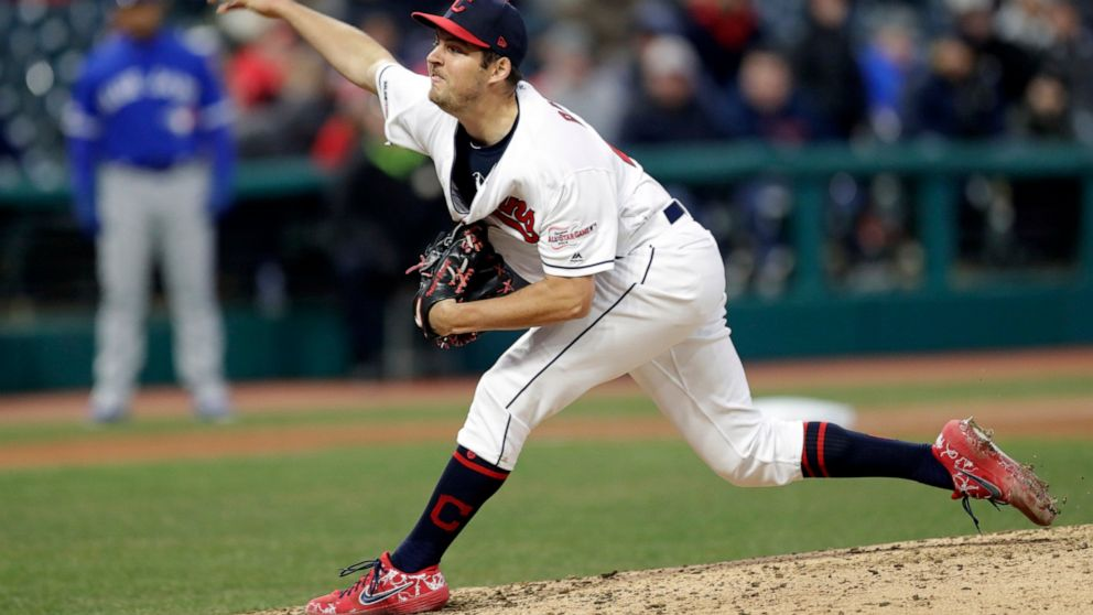 Cleveland Indians starting pitcher Trevor Bauer delivers in the sixth inning of a baseball game against the Toronto Blue Jays, Thursday, April 4, 2019, in Cleveland. (AP Photo/Tony Dejak)