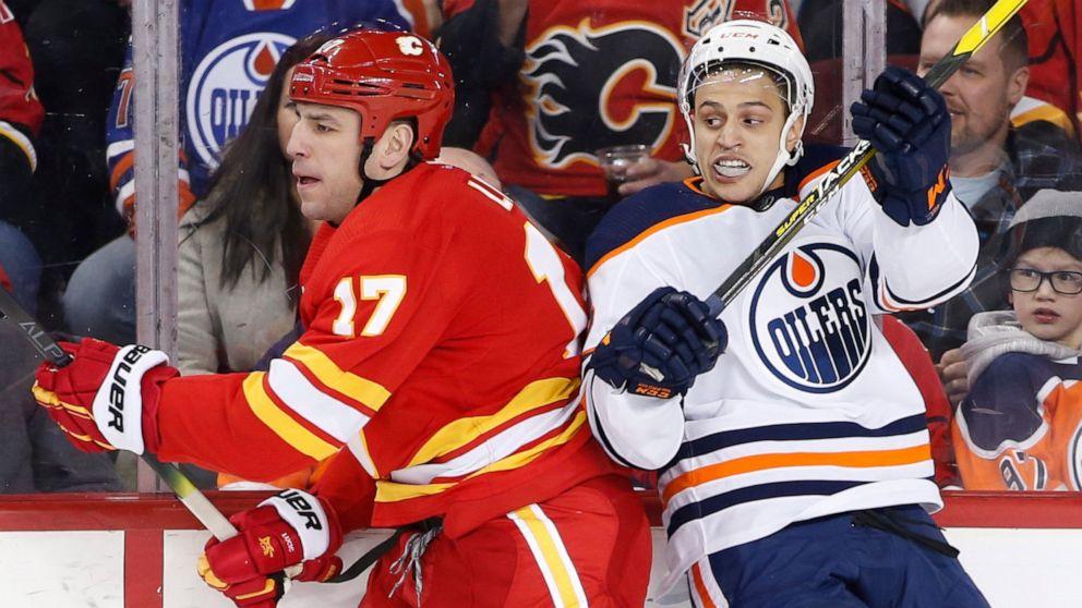 Lindholm Leads Flames Past Edmonton 4 3 Abc News