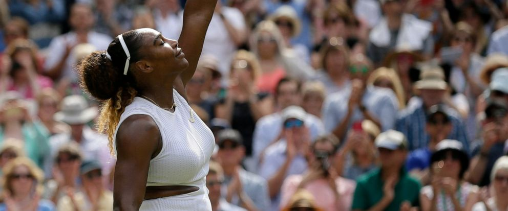 United States Serena Williams celebrates defeating Czech Republics Barbora Strycova during a womens singles semifinal match on day ten of the Wimbledon Tennis Championships in London, Thursday, July 11, 2019. (AP Photo/Tim Ireland)