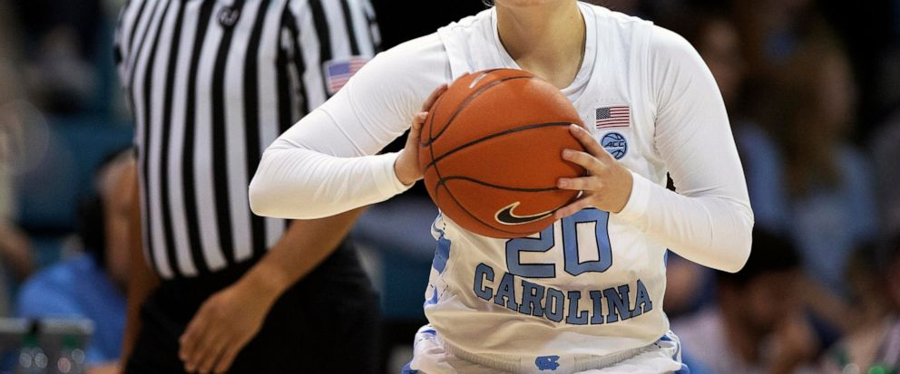 FILE - In this Thursday, Jan. 17, 2019 file photo, North Carolinas Leah Church (20) looks to pass during an NCAA college basketball game in Chapel Hill, N.C. North Carolina guard Leah Church is getting national attention for a viral video showing he