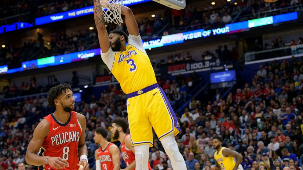 Davis 41 Points Lead Lakers Past Pelicans 114 110 Abc News