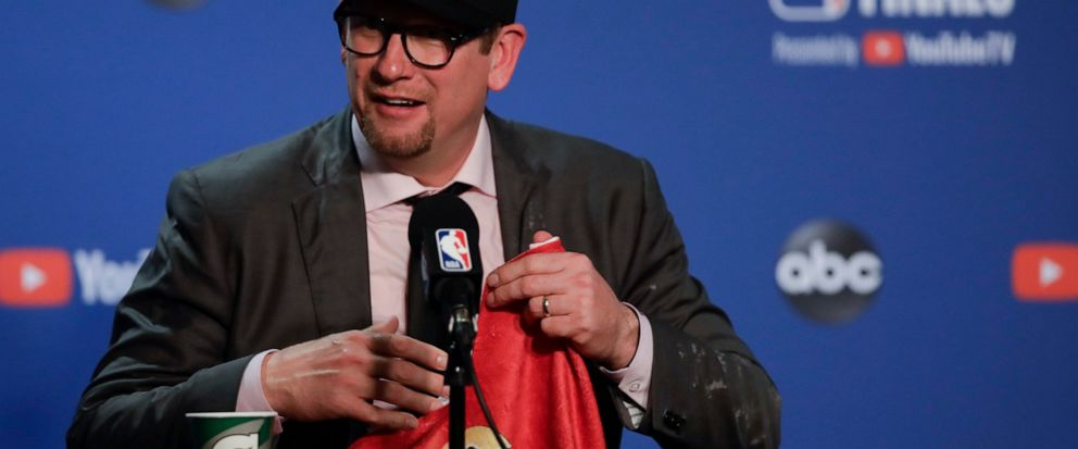 Toronto Raptors head coach Nick Nurse speaks at a news conference after the Raptors defeated the Golden State Warriors in Game 6 of basketballs NBA Finals in Oakland, Calif., Thursday, June 13, 2019. (AP Photo/Ben Margot)