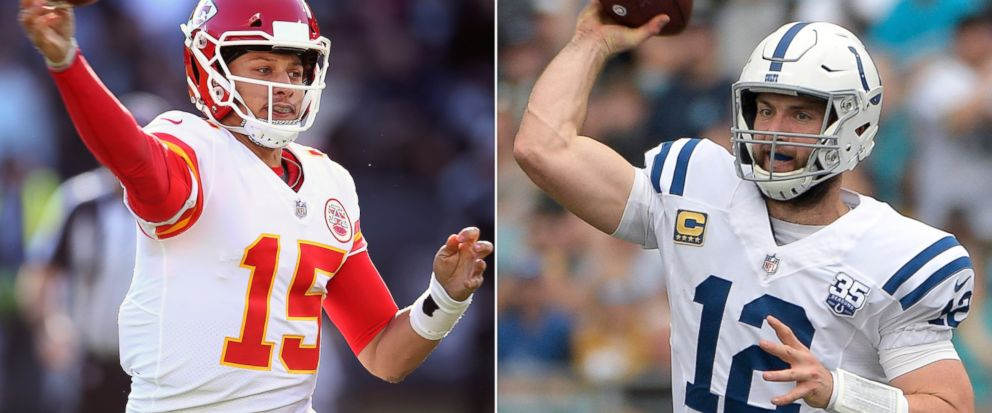 FILE - At left, in a Dec. 2, 2018, file photo, Kansas City Chiefs quarterback Patrick Mahomes (15) passes against the Oakland Raiders during an NFL football game in Oakland, Calif. At right , also in a Dec. 2, 2018, file photo, Indianapolis Colts qua
