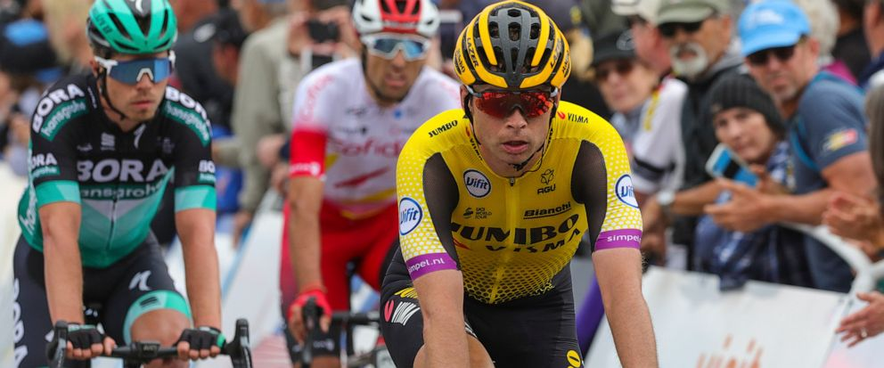 Tejay van Garderen rides to the finish of the fourth stage of the Tour of California cycling race Wednesday, May 15, 2019, in Morro Bay, Calif. Van Garderen thought he had lost his overall race lead after a string of bad luck in the final couple of m