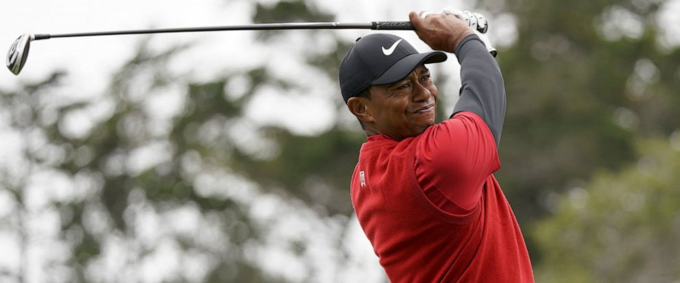 FILE - In this June 16, 2019, file photo Tiger Woods watches his tee shot on the second hole during the final round of the U.S. Open Championship golf tournament in Pebble Beach, Calif. Woods has played just three tournaments, 10 rounds, since he won