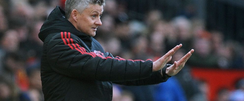 Manchester United manager Ole Gunnar Solskjaer gestures during the English Premier League soccer match between Manchester United and West Ham United at Old Trafford in Manchester, England, Saturday, April 13, 2019. (AP Photo/Rui Vieira)
