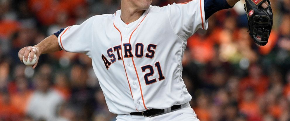 Houston Astros starting pitcher Zack Greinke delivers during the first inning of the teams baseball game against the Colorado Rockies, Tuesday, Aug. 6, 2019, in Houston. (AP Photo/Eric Christian Smith)