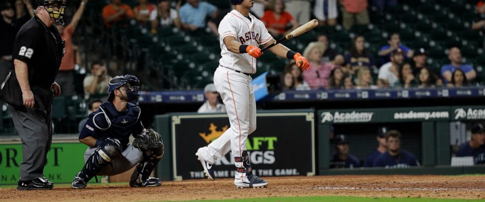 factory authentic cd594 bd90b Brantley homers in 13th, Astros rally past Mariners 11-9 ...